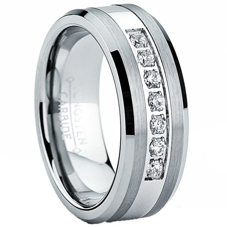 Tungsten Carbide Men's Engagement Wedding Band Ring with Stainless Steel Center,Cubic Zirconia 8mm, Sizes 7 to 13 Dial Tungsten Steel Bezel