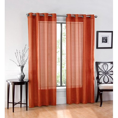 2 Pack: GoodGram Ultra Luxurious High Woven Elegant Sheer Grommet Curtain Panels - Spice ()