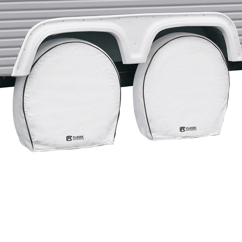 Classic Accessories Deluxe RV Wheel Covers, White, 4-Pack
