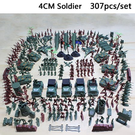 307pcs/lot Military Plastic Soldier Model Toy Army Men Figures Accessories Kit Decor Play (Military Modelling)