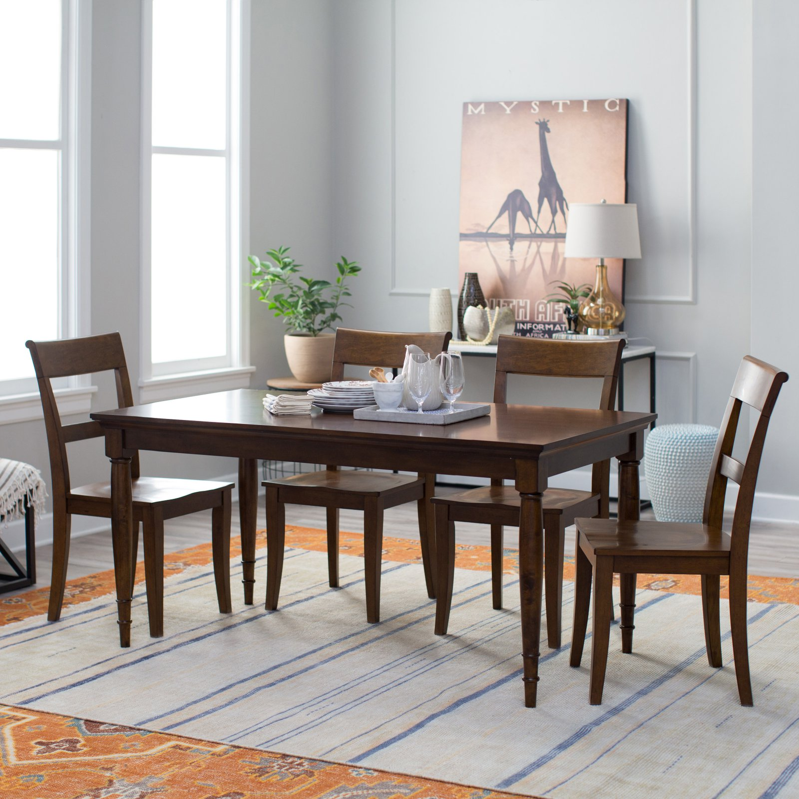 Belham Living 5 Piece Durham Walnut Dining Table Set