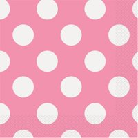 Polka Dot Paper Luncheon Napkins, Hot Pink, 16ct