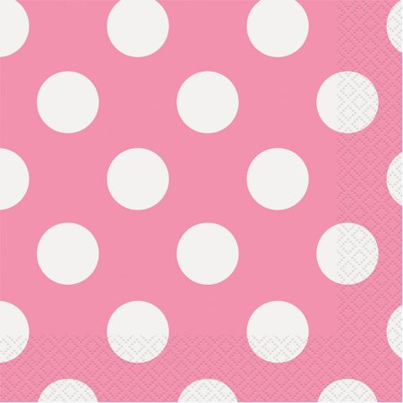 Yellow Polka Dot Napkins (Polka Dot Paper Luncheon Napkins, Hot Pink,)