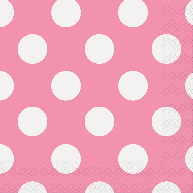 Polka Dot Paper Lunch Napkins, Hot Pink, 16ct
