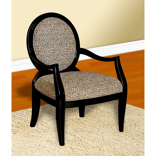 Oval Back Accent Chair, Leopard Print