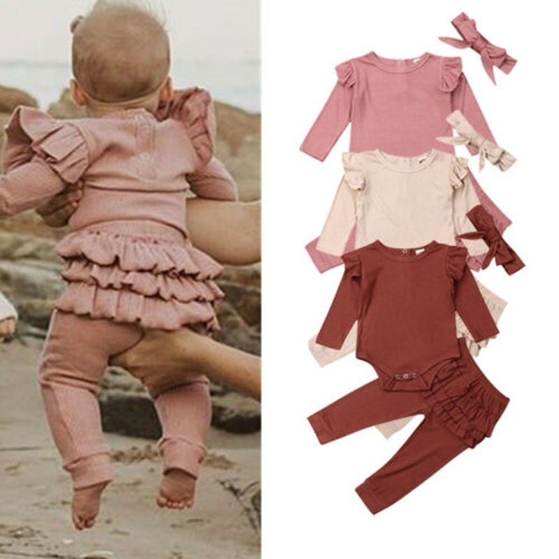 Strap Dress Outfit Clothes Sets UK Infant Baby Girls Kid Ruffles Frill Romper
