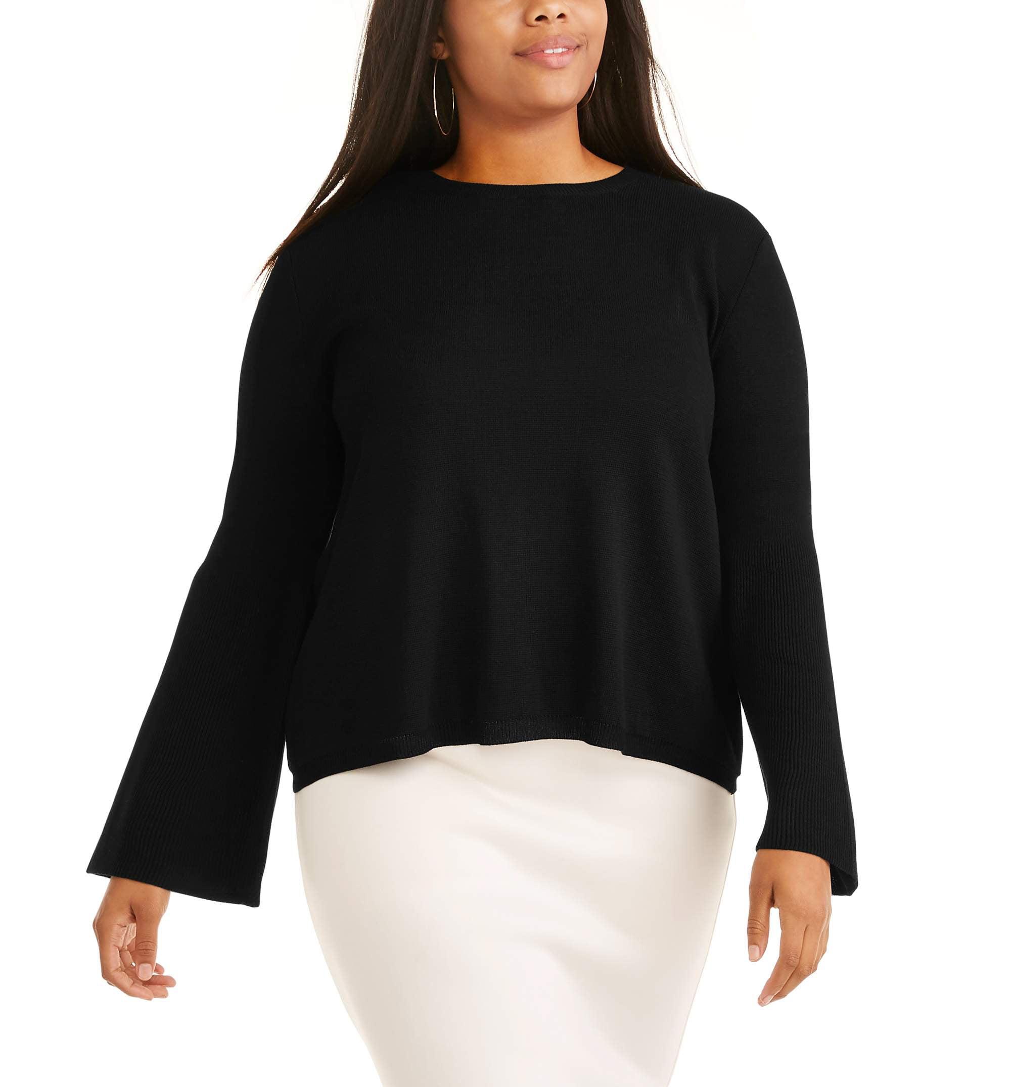 Junior's Plus Long Sleeve Bell Sleeve Sweater