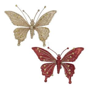 1 Set 2 Assorted Glitter Red and Gold Butterfly Clip Christmas Ornaments