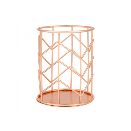 Topumt Rose Gold Plated Metal Basket Copper Wire Mesh Storage Bins Room Office Decor Cosmetic Stationery Pen Holder ()