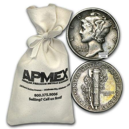 90% Silver Mercury Dime $50 Face-Value Bag Avg Circ Mercury Dime Roll