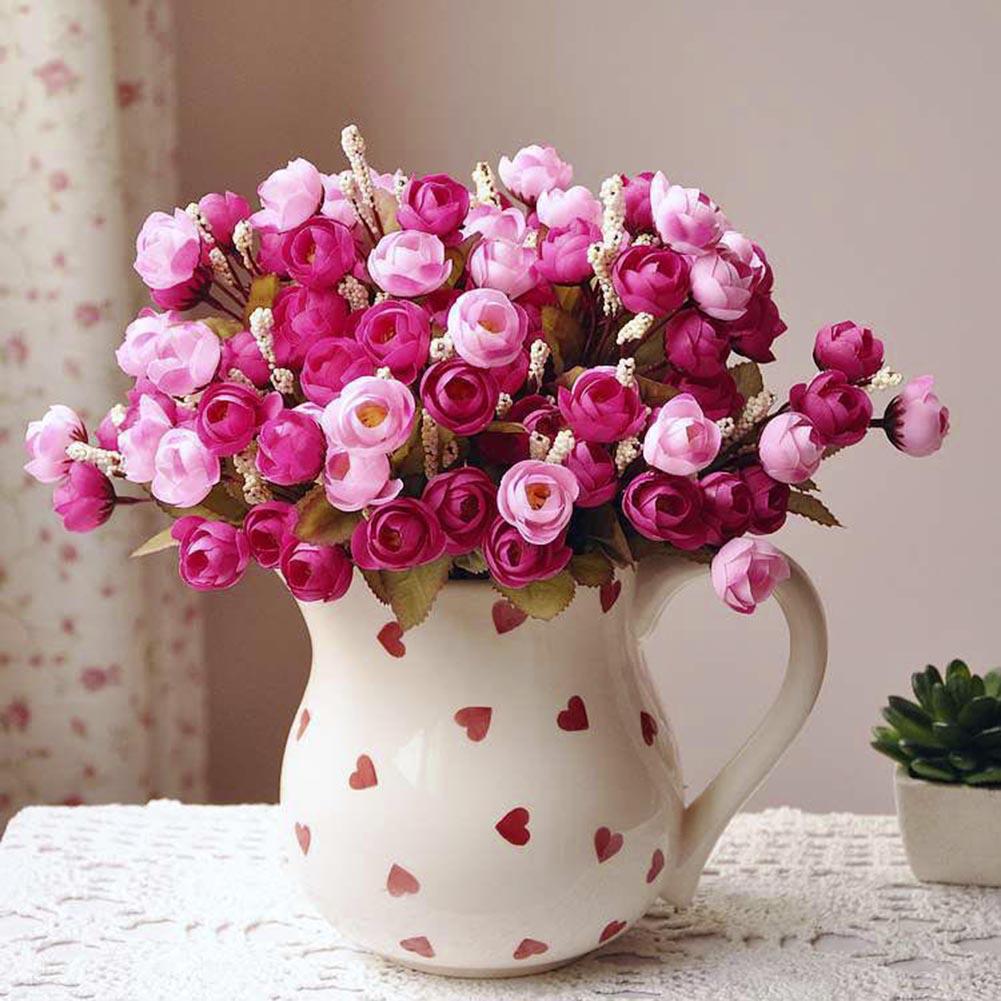 Heepo Home Artificial Rose Silk Flowers 18 Flower Heads Camellia Peony Bouquet Decor