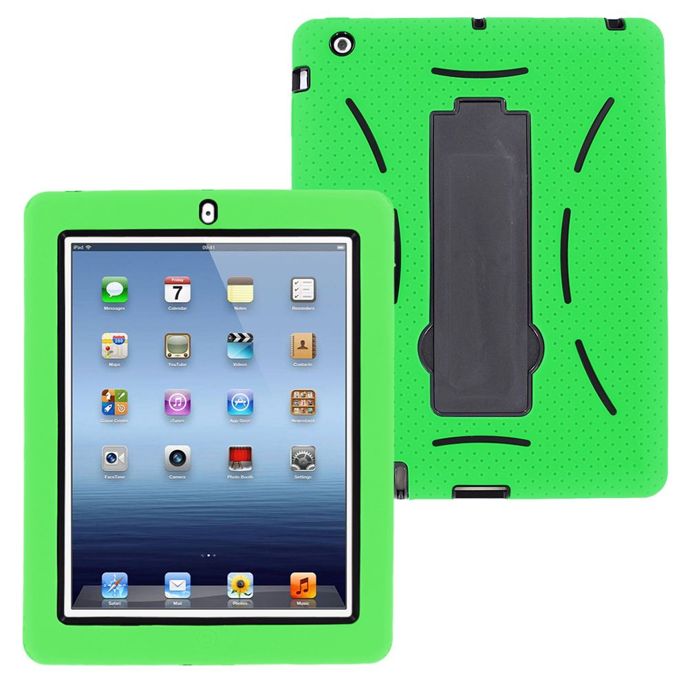Shockproof Hybrid Heavy Duty Case Cover Kickstand Screen Protector by KIQ For Apple iPad 2/3/4 [2nd, 3rd, 4th] 9.7 (Black)