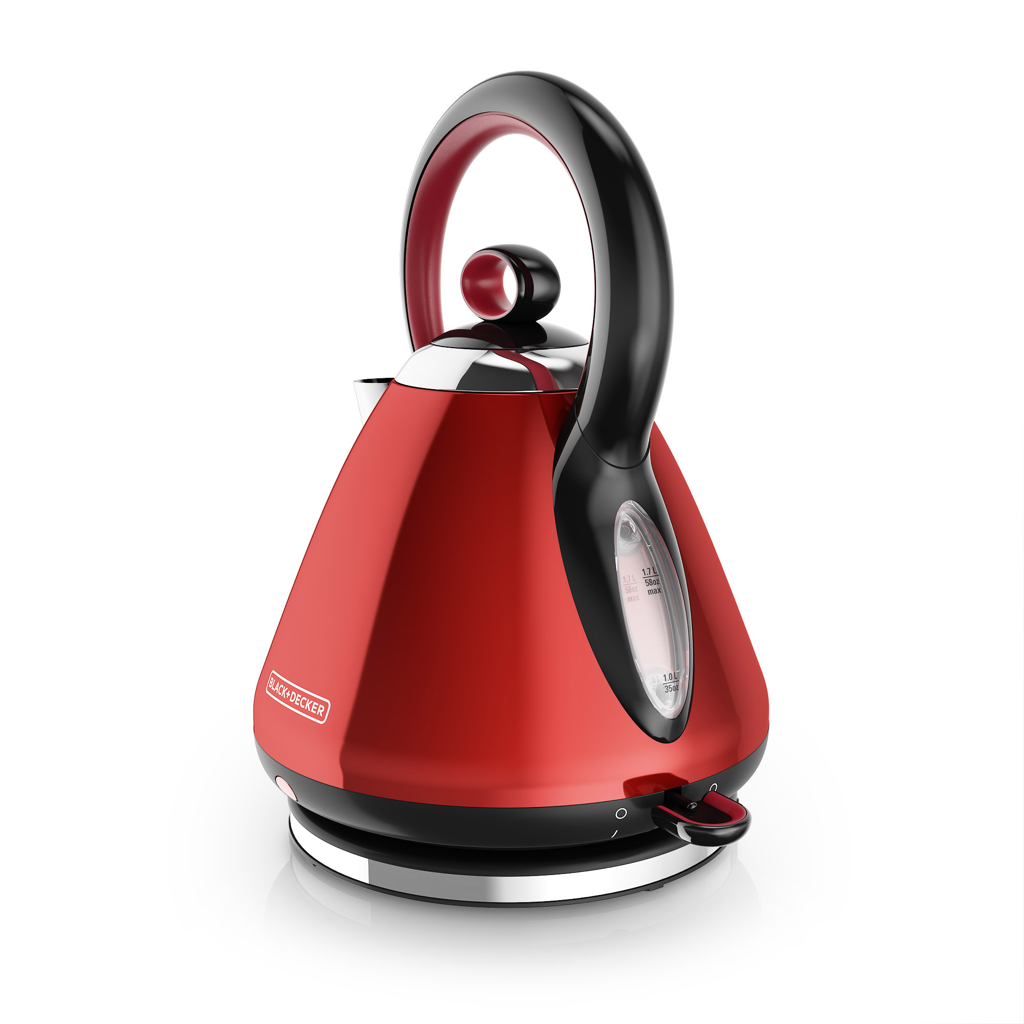 black+decker 1.7l stainless steel electric cordless kettle, red, ke2900r