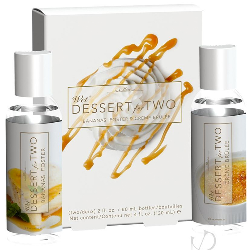 Wet Dessert for Two Water Based Lubricant Pack - Bananas Foster & Crème Brulee - 2 oz