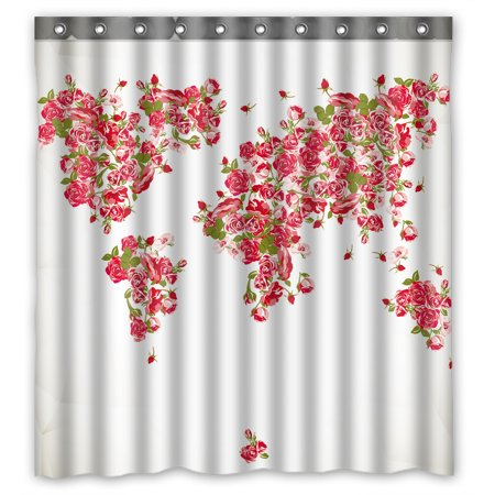 YKCG Vintage Floral Rose World Map Red Pink Color Fabric Antique World Map Rose Flower Waterproof Fabric Bathroom Shower Curtain 66x72 (World Best Rose Pic)