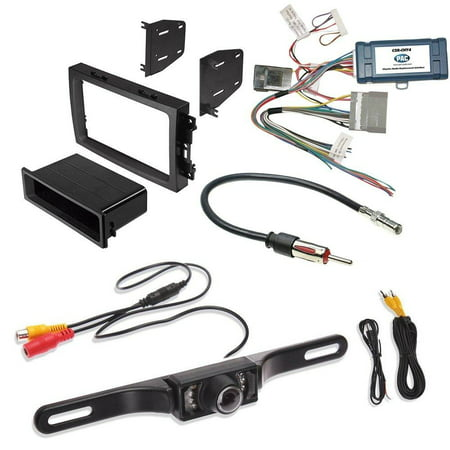 JEEP DODGE CHRYSLER 2004- 2008 ( SELECT MODELS ) AFTEMARKET CAR STEREO INSTALL KIT DASH MOUNTING KIT + RADIO REPLACEMENT INTERFACE + RADIO ANTENNA ADAPTER + REAR VIEW (Best Car Radio Replacement)