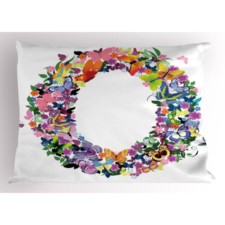 Letter O Pillow Sham Uppercase Initial with Butterflies and Flowers Festive Spring Inspired Composition, Decorative Standard Size Printed Pillowcase, 26 X 20 Inches, Multicolor, by Ambesonne