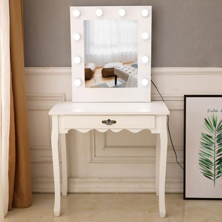 Ktaxon Vanity Set Jewelry Makeup Dressing Table with Lighted Mirror, Writing Desk with Drawer for Bedroom,White (10 Cool LED Bulbs) ()