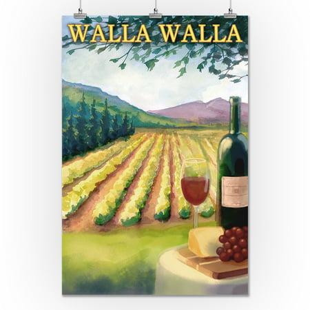 Walla Walla - Vineyard Scene - Lantern Press Artwork (24x36 Giclee Gallery Print, Wall Decor Travel Poster)