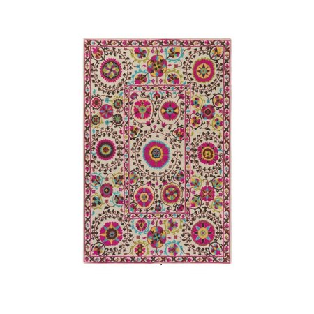 2' x 2.75' Sphere Flowers Cherry Blossom Pink and Mushroom Beige Area Throw -