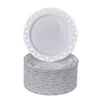 "40 Elegant Disposable Side Plates for Weddings (Dots Black - 7.5"")"