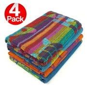 KAUFMAN Terry Beach Pool Towel 4 Pack of Assorted Colors 30in x 60in