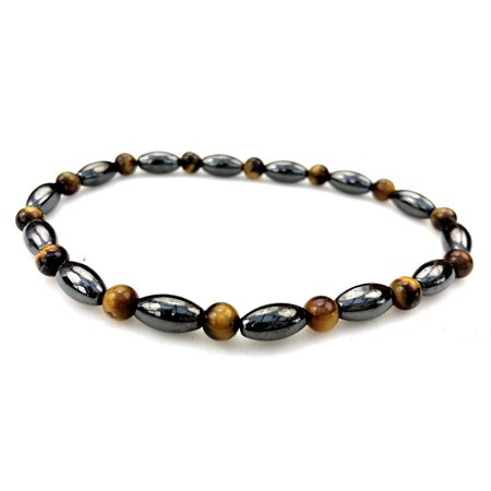 Purple Whale Magnetic Therapy Hematite Tiger Eye Gemstone Stretch Anklet / Bracelet - hb017-9.5 Cat Eye Hematite Bracelet