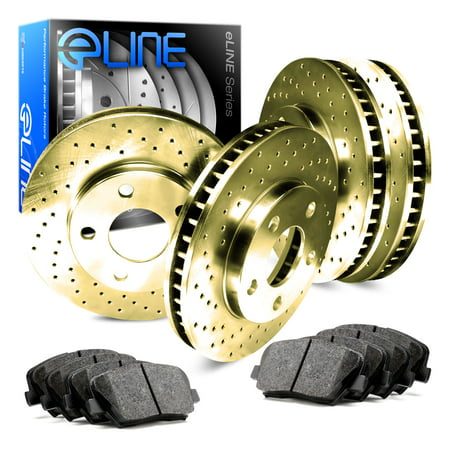 For 2005 Mercedes-Benz C230 Front Rear Gold Drilled Brake Rotors+Ceramic