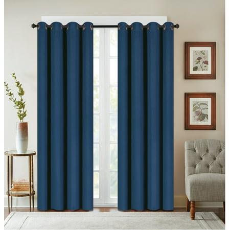 Texured Design - 2 Pack: Textured Design Blackout Curtain Panels - Indigo Blue