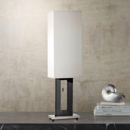 360 Lighting Modern Table Lamp Black Open Rectangle Base Off White Shade for Living Room Family Bedroom Bedside Nightstand Office