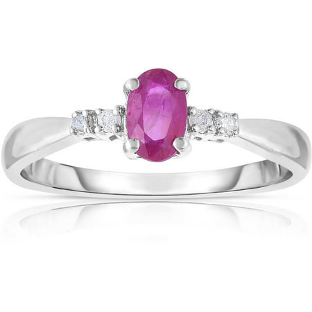 Genuine Ruby and White Diamond 10kt White Gold Ring