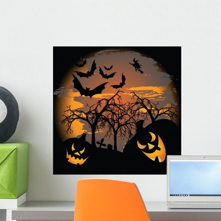 Scary Halloween Wall Mural by Wallmonkeys Peel and Stick Graphic (18 in H x 18 in W) - Scary Halloween Animated Wallpaper