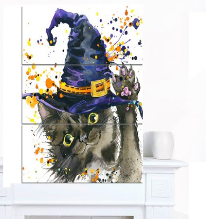 Design Art 'Halloween Cat and Witch Hat' 3 Piece Painting Print on Wrapped Canvas - Cat Painting For Halloween