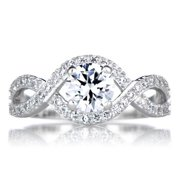 Emitations Sterling Silver Round Cut Twisted Cubic Zirconia Engagement Ring