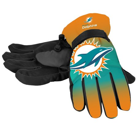 (Forever Collectibles - NFL Gradient Big Logo Insulated Gloves-Large/XL, Miami Dolphins)