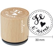 """Woodies Mounted Rubber Stamp 1.35""""-Je T'aime"""