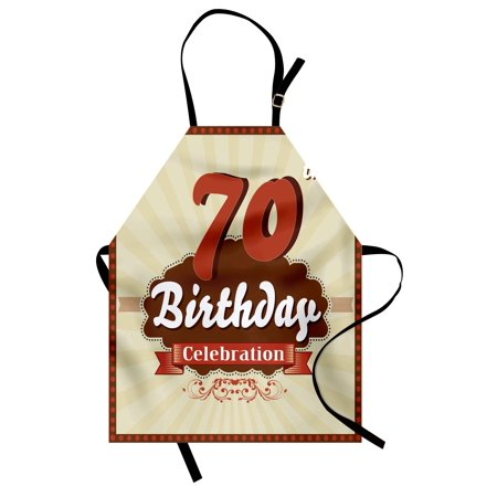 70th Birthday Apron Vintage Candy Store Inspired Design 70 Years Old Birthday Celebration, Unisex Kitchen Bib Apron with Adjustable Neck for Cooking Baking Gardening, Brown and Cinnamon, by Ambesonne