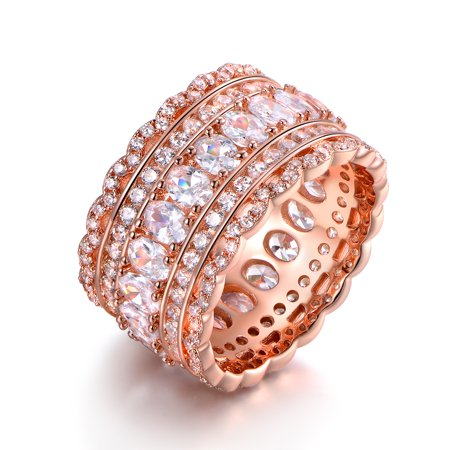 Rose Gold Plated Cubic Zirconia Wide Band Cocktail Ring