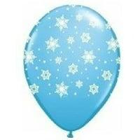 "SNOWFLAKE FROZEN Light Blue Snow Flake (6) 11"" LATEX Birthday Party BALLOONS, By LoonBalloon"