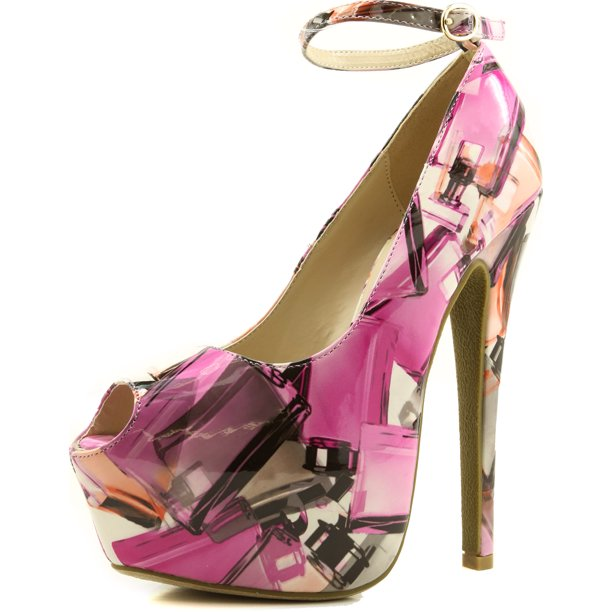 Women's Extreme High Fashion Ankle Strap Peep Toe Hidden Platform Sexy Stiletto High Heel Pump Shoes PinkMultiPat-85