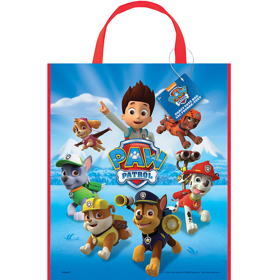 Large Plastic PAW Patrol Goodie Bags, 13 x 11 in, 12ct
