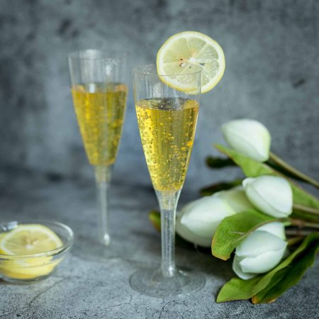 Efavormart 60 Pcs 4oz Glittered Clear Plastic Disposable Champagne Toast Flutes for Wedding Party Events