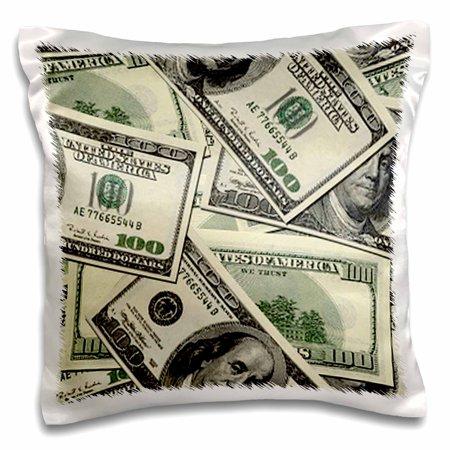 3dRose 100 Dollar Bill Pattern - Pillow Case, 16 by 16-inch - 100 Dollar Bill Rose Tattoo