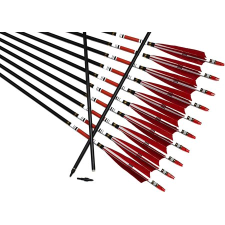 12 PCS Archery Carbon Arrows Turkey Feather Fletched Arrows 31 inches Carbon Arrows Replacement Tips Targeting Arrows Archery for Recurve Bow Traditional Bow Hunting&Practice thumbnail