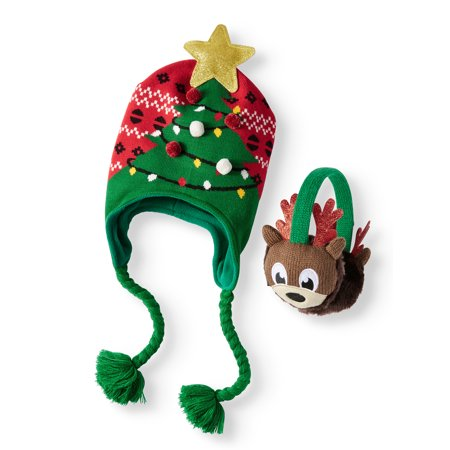 Holiday Time Festive Christmas Tree Hat and Reindeer Earwarmer 2-Piece Set - Crismas Hat