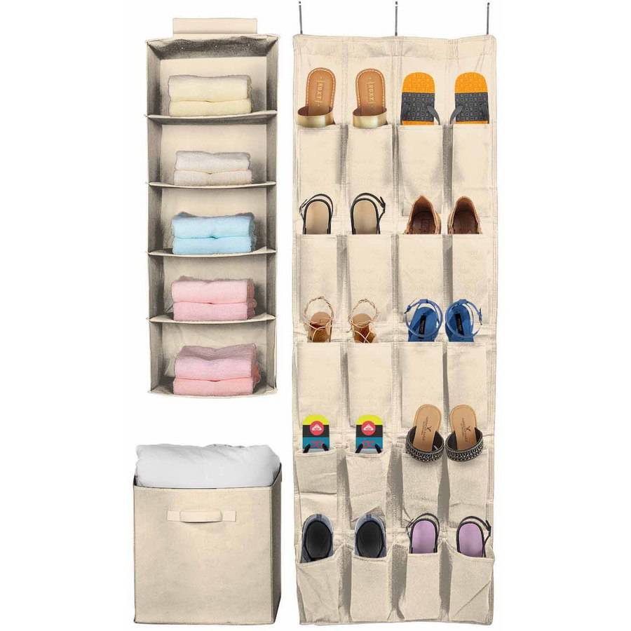 Sorbus Set of 3 Foldable Storage Box Cube Basket, Hanging Closet Shelves Organizer, Hanging Shoe Organizer, for Clothing, Shoes, Underwear, Bra, Socks, Linen and Towels (Beige)