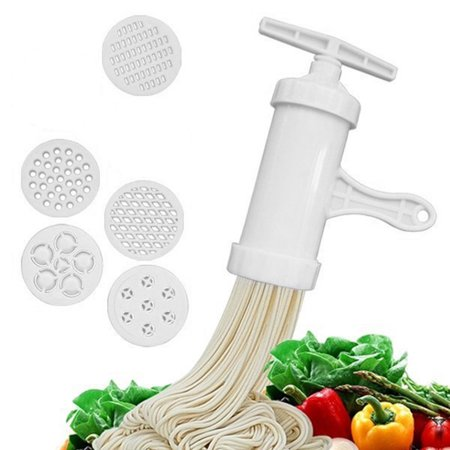 Jeobest Manual Pasta Maker Machine - Noodle Press Maker - Pasta Maker Handheld Noodle Maker Press Mould for Making Spaghetti Fettuccine Noodles with 5 Different Templates (5.9''x 2.6'') MZ