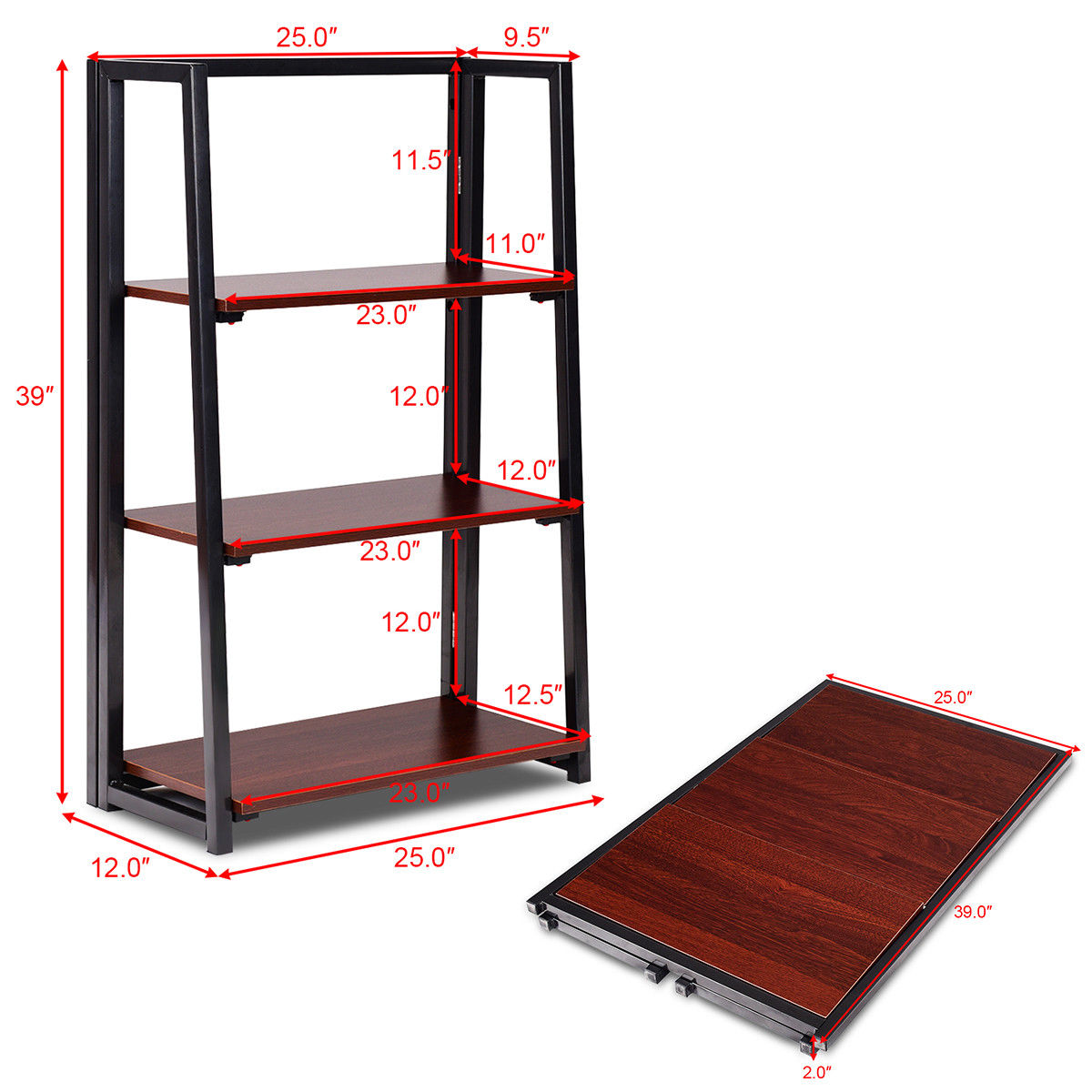 Gymax 3 Tier Folding Ladder Bookcase Multifunctional Plant Flower Display Stand Shelf - image 1 of 10