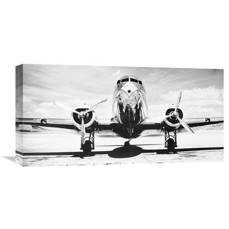 Global Gallery Passenger Airplane on Runway Wall - Inuit Art Gallery
