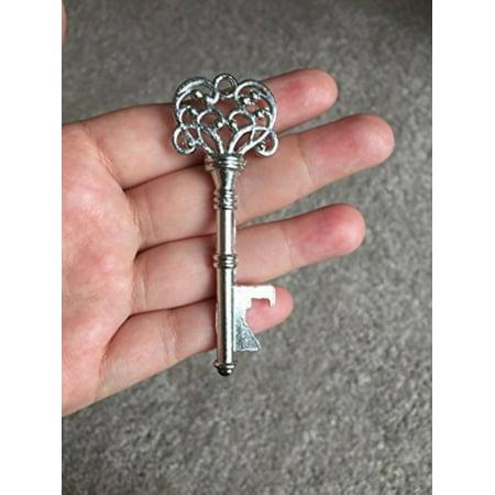 40PCS Skeleton Key Shaped Bottle Openers Silver Color Wedding Favors Shiny Decoration, Vintage Style Key Shaped Bottle Opener Favors By ThreadNanny
